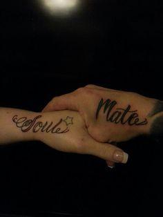 """Couples tattoo """" Soul Mates """" . Cute."""