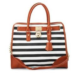 Cheap Michael Kors Striped Lock Large Black Totes Clearance