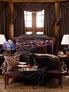 Ralph Lauren bedroom. Although I'm not a big fan of the color purple, I do like this ... more plum or eggplant with gray?