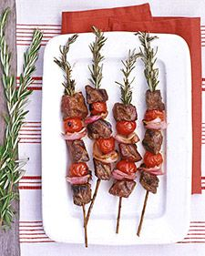 Beef, red onion, tomato on a rosemary skewer