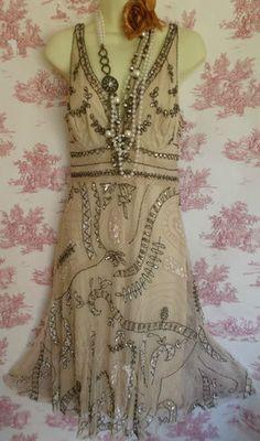 Principles deco charleston flapper 20's style beaded sequin cream dress