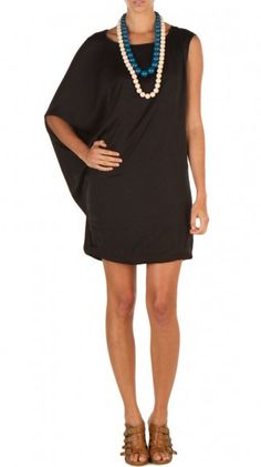 Black One shoulder draped dress