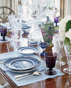 Blue and white china with purple accents and crystal - Cathy Kincaid Interiors - Southern Accents Show House