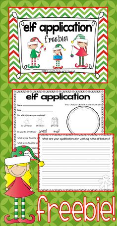 Freebie!  Cute elf application writing and craft activity!