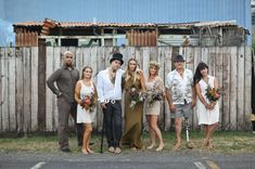 Love the bridal party from this New Zealand 70s Inspired Bohemian Wedding