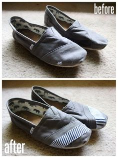 How to fix Toms that had a hole.    49 Dresses: DIY