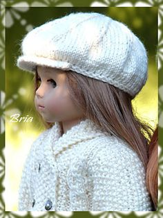 Newsboy Cap for American Girl Dolls: pattern by Deb Denair #free #knit #pattern