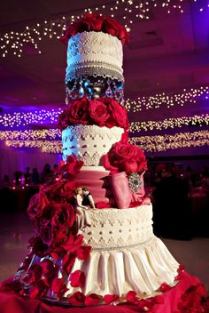 Red and White-Wedding Cake-Lace and Drapes- The Cake Zone- www.thecakezone.com