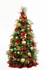 Christmas Tree Theme Idea-Royal Red and Gold traditional Christmas Decorating Kit from Show Me Decorating just add your own collection of ornaments to personalize