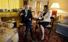 Former U.S. Sen. John Warner sits with his wife at his home in Alexandria, Va., to discuss the September christening of the Navy's newest submarine, the USS John Warner. (Photo by Kaitlin McKeown / Daily Press)