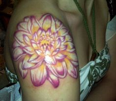 tattoo ideas, lotus tattoo, dahlias, tattoo patterns, flower tattoos, shoulder tattoos, flowers, white ink, bright colors