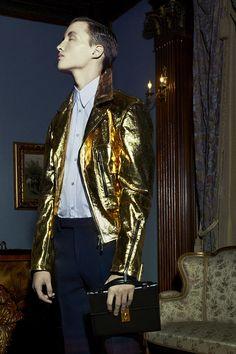 golden biker jacket