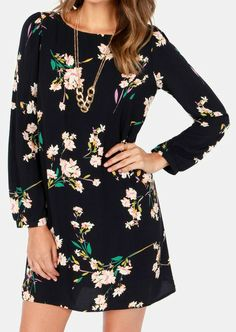 Navy Floral Print Shift Dress