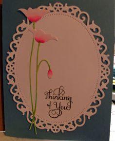 Memory Box Poppy die cut and Spellbinders Floral Oval.