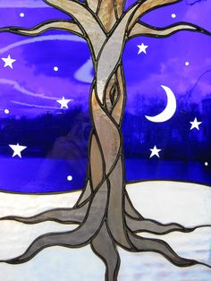 Stained Glass Tree on a Starry Winter Night by RenaissanceGlass