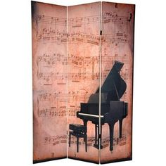 Oriental Furniture Double Sided Piano/Phonograph Music Room Divider