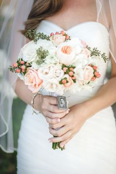peach bouquet // Intimate Navy and Peach DIY Wedding // Anita Martin Photography