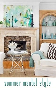 ideas for styling your summer mantel