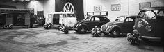 """VW Kevers en T1's, garage Mollen, Oss 1953    """"Volkswagengarage Mollen aan de Hescheweg. In de showroom staan bestelbusjes en Volkswagenkevers. De garage werd geopend op 26 september 1953."""""""