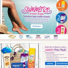 Summerize Your Legs and/or Enter to win...!  Thanks to a list of sponsors incliding Schick and Hawaiian Tropic, (see picture) and Walmart, here are some tips, treats, and coupons! Enjoy Summer!  (Contest ends 7/15/14.) QUICK LINK:  http://wm6.walmart.com/summerize-your-legs.aspx