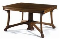 """Eugéne Gaillard - Dining Table. Oak. Circa 1900. 29.7"""" x 45.1"""" x 113.2"""" (75.5cm x 114.5cm x 287.5cm)."""