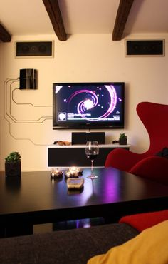 Why Hide Your Cables And Cords When You Can Turn Them Into Beautiful Wall Art... Diy Ideas, Wall Art, Home Theaters, Interiors Design, Apples Tv, Cable Management, Design Elements, Hiding Cords, The Wire