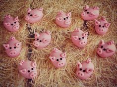 Piggies in a Haystack Cupcake Toppers by Lynlee's Petite Cakes, via Flickr cake tutori, cake decor, farm cake, cupcake toppers