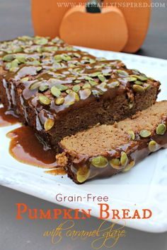 Grain Free Pumpkin Bread with Caramel Glaze | PrimallyInspired.com #glutenfree #grainfree #paleo