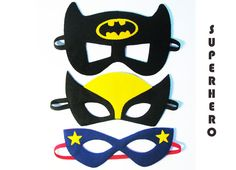 3 Super Hero Masks Party package for kids Batman by FeltFamily