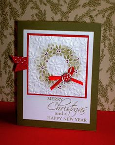 Stampin' Up! Christmas  sponged embossed wreath card