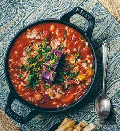Mediterranean Harissa Stew with Purple Sweet Potato   vegan miam