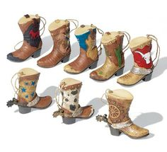 Collectible Western Cowboy Boots Ornament Set