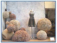 Anthropologie shop visual merchandising display installation, Cork balls