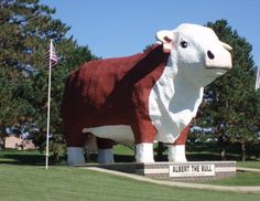 Albert the Bull in Audubon, Iowa, is the world's largest bull. It was constructed in 1964, weighs 45 tons, stands 30 feet tall and spans 15 feet from horn to horn.