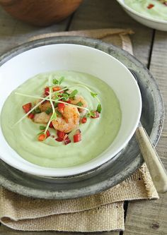 Chilled avocado sweet corn soup with lime shrimp salsa #recipe