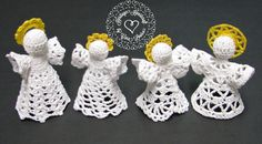 Angels in August Sale at Heritage Heartcraft! Tiny crocheted angels are handcrafted with love and prayers. Each of these 4 different designs have been uniquely designed by me and stand about 3 to 4 inches tall. They are carefully starched to stand on their own, or may be hung on your Christmas tree. Patterns are also available in my ravelry shop! thread crochet angel