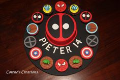 I created this Marvel Superheroes Cake and Cupcakes for my son`s Birthday . It is all the icons of his favourite characters - Deadpool, Captain America, Spiderman, Thor, Hulk, X-men and Wolverine.