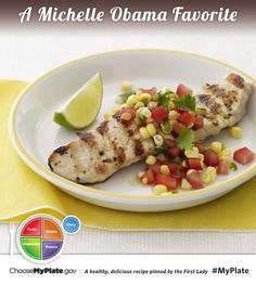 Grilled Turkey with Corn, Tomato & Sweet Pepper Salsa #protein #veggie #myplate #myplatebirthday