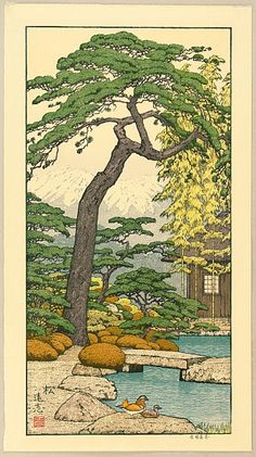 Pine Tree of the Friendly Garden by Toshi Yoshida