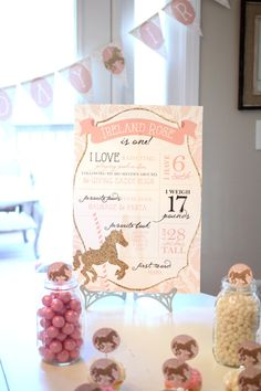 Printable birthday facts photo poster - Pink and gold carousel party -  First birthday - Birthday stats on Etsy, $30.00