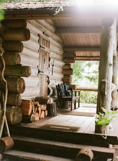 Rustic Log Home Porch