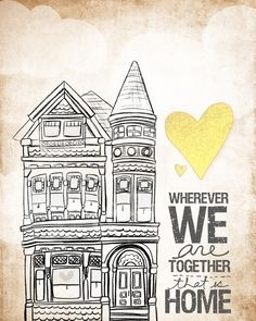 Beautiful canvas paper print.  Wherever We Are Together Series. via Etsy.