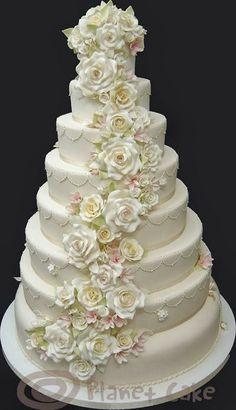 Lovely Wedding Cake/cascading flowers