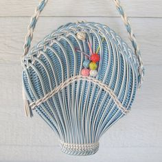 Intricately woven vintage basket shaped purse by BoudoirBarbie, $130.00