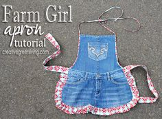 crafts from jeans, christmas presents, recycl jean, country girls, farm girl, apron tutori, jean apron, girl apron, old jeans
