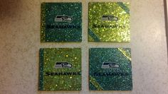 Seahawks coasters I made. Cork squares, scrapbook paper, Seahawks window clings, and Mod Podge. The picture doesn't do them justice!