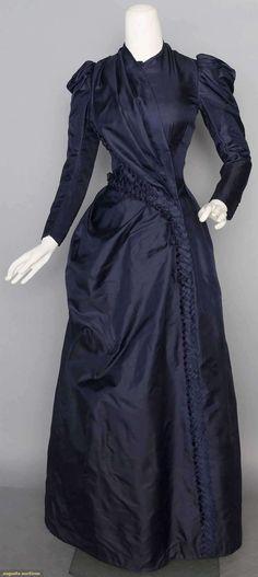 Navy Silk Day Dress, C. 1888, Augusta Auctions, November 12, 2014