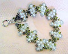 Beautiful ;~D Swarovski crystal  and glass pearls hand woven by lyrisgems, $45.00 #handmade #lacwe #onfireteam #hollerh
