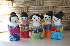 geisha peg dolls
