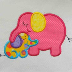 applique quilts | Elephant Embroidered and Applique Quilt Block